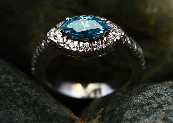 diamond ring between the rocks