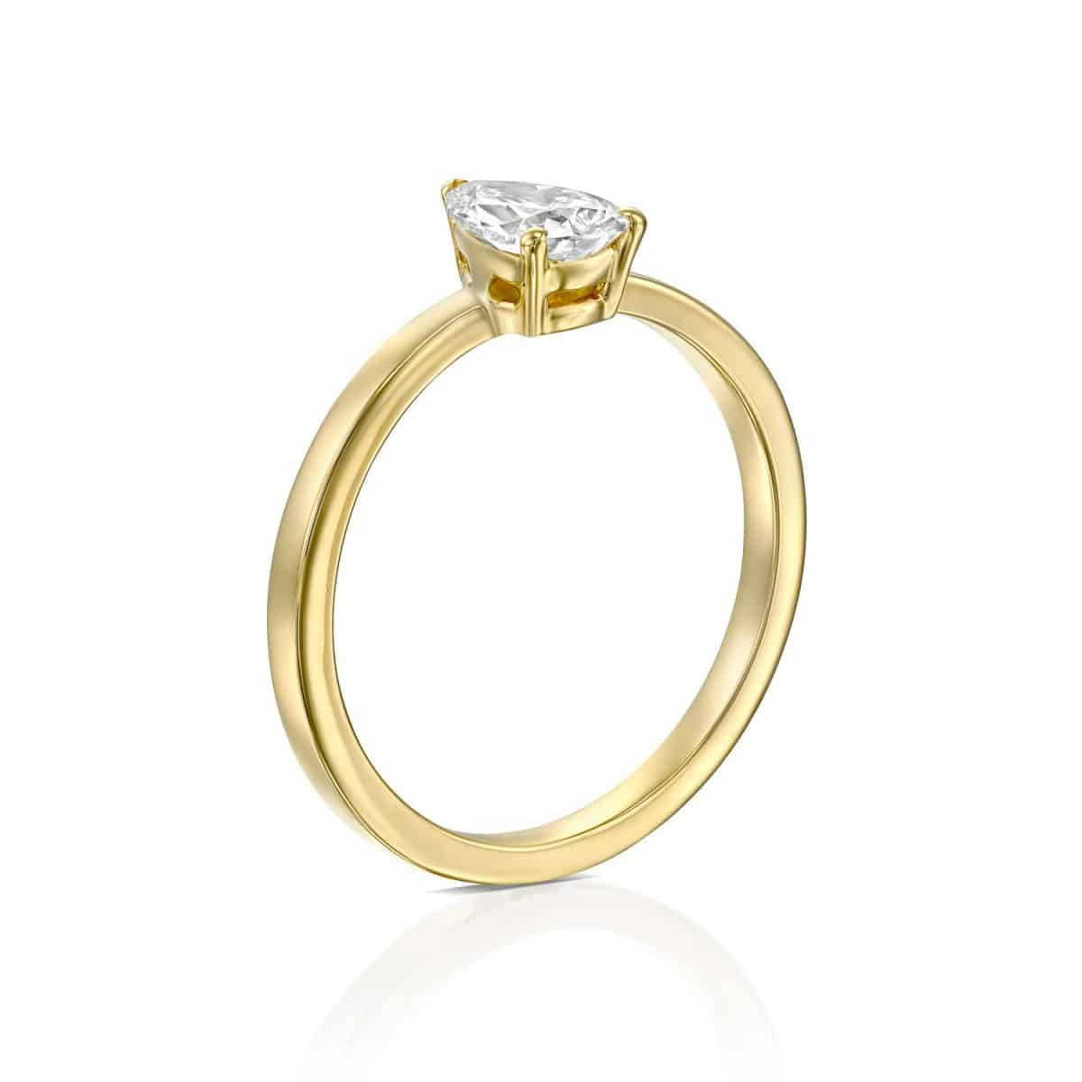 Brittney - Yellow Gold Lab Grown Diamond Engagement Ring 0.60ct. - standing