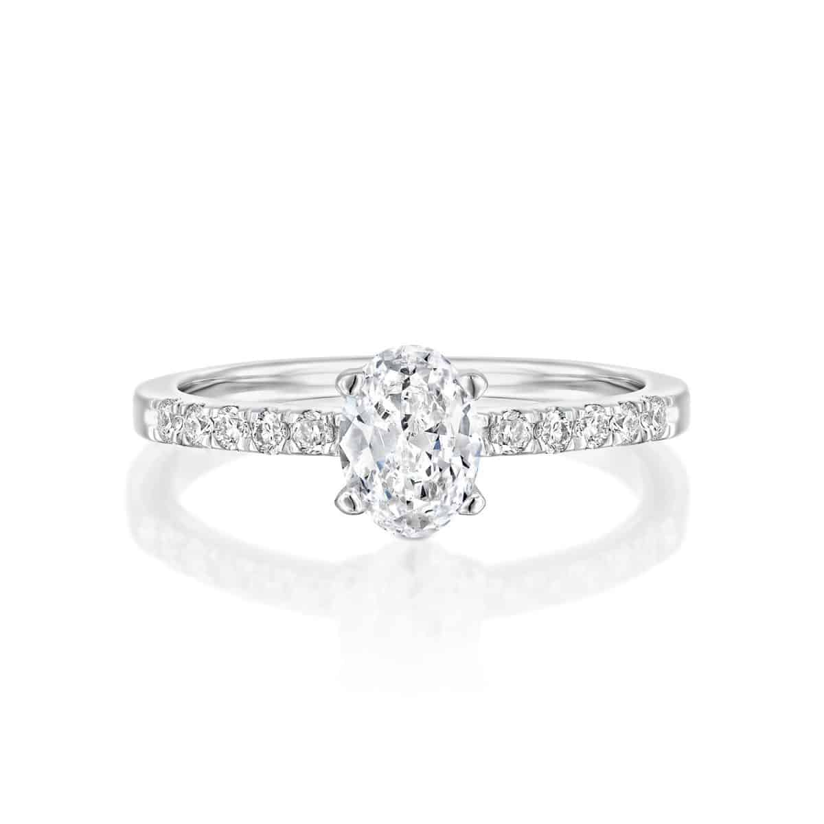 Oval - White Gold Lab Grown Diamond Engagement Ring 0.61ct. - laying