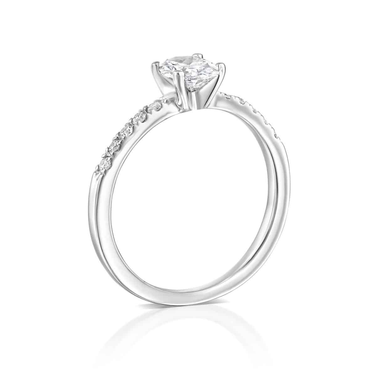 Oval - White Gold Lab Grown Diamond Engagement Ring 0.61ct. - standing