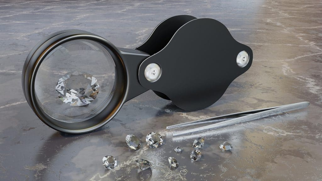 diamonds in a magnifying glass